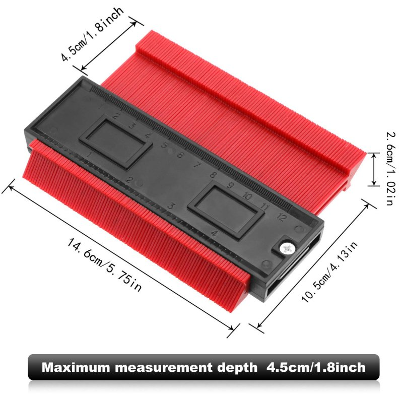 Contour Profile Gauge Multi-functional Plastic Contour Duplicator Edge Shaping Measure Ruler for Tiling Laminate Woodworking Practical Tool  Red
