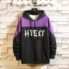 Contrast Color Hoodies Sweater with Letters Decor Casual Loose Pullover for Man black_2XL