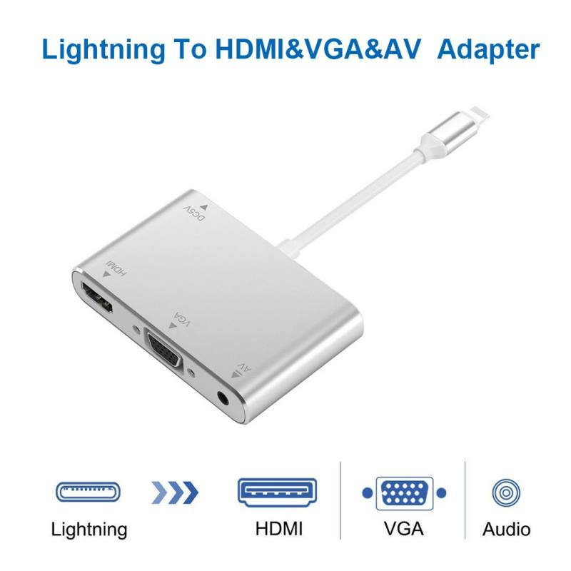 Converter For 8-pin to HDMI VGA AV Jack Audio TV Adapter Cable For iPhone X iPhone 8 7 7 Plus 6 6S For iPad Series Silver