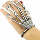 Cool Punk Rock Skeleton Skull Hand Ring Bracelet Bone Rivet Halloween Decro Party Prop Silver