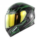Cool Unisex Double Lens Flip-up Motorcycle Helmet Off-road Safety Helmet Line green with gold  lens_L