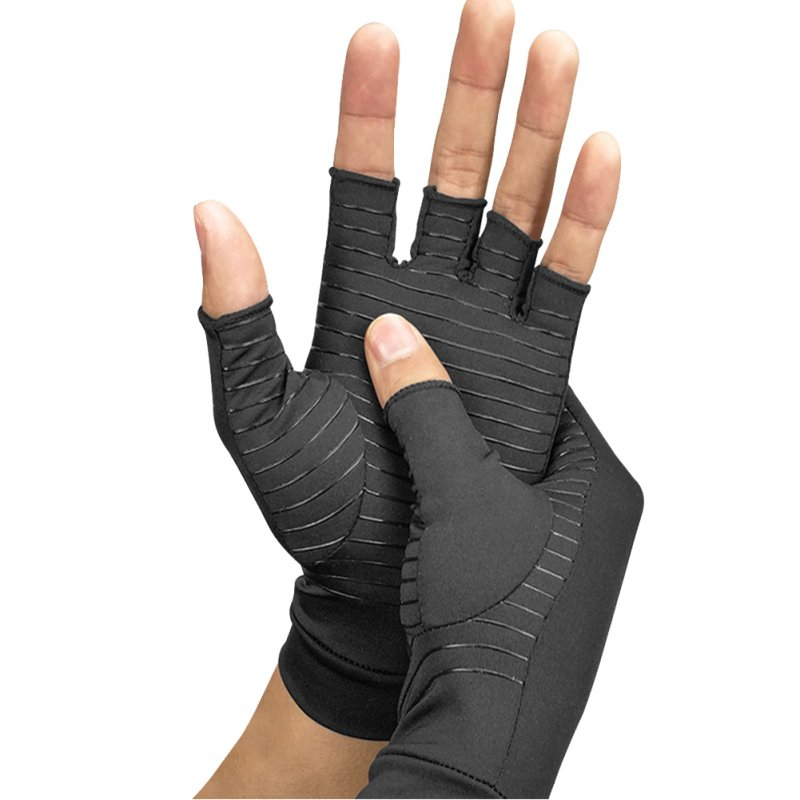 Copper Fiber Arthritis Compression Breathable Half-finger Gloves for Rheumatoid Arthritis black_L