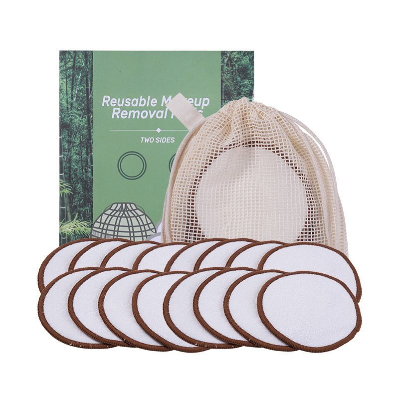 Cosmetic Pad Washable Bamboo Fiber Pure Cotton Makeup Reusable Makeup Remover Pad Paper box+mesh bag+16 pieces of bamboo cotton makeup remover pad