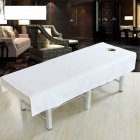 Cotton Fashion Beauty Salon Body Spa Massage Table Cloth Bed Cover Sheet with Face Hole Pure Color White_80 * 190cm