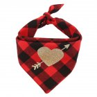 Cotton Love Heart Pet Neckerchief Dog Scarf Saliva Towel for Valentine Red and black plaid Neck circumference 25   48cm