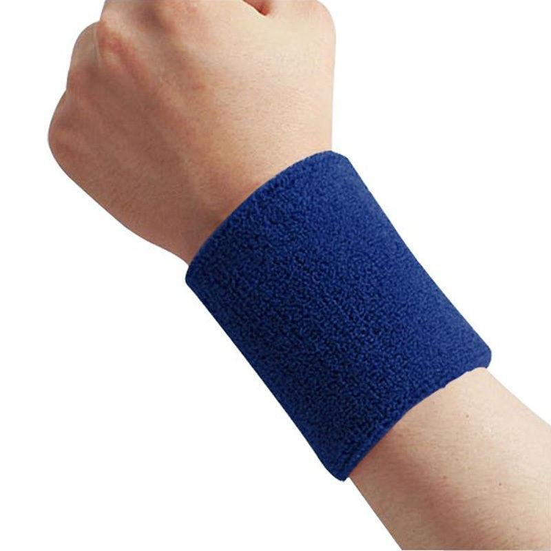 Cotton Sweatband Moisture Wicking Athletic Terry Cloth Wristband for Tennis, Basketball, Running, Gym, Working Out Blue 8 * 10CM