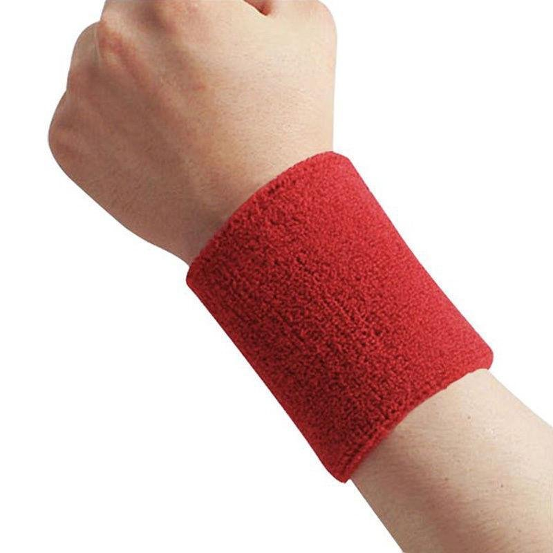 Cotton Sweatband Moisture Wicking Athletic Terry Cloth Wristband for Tennis, Basketball, Running, Gym, Working Out Red 8 * 10CM