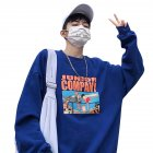 Couple Crew Neck Sweatshirt Hip-hop Junior Company Student Fashion Loose Pullover Tops Blue_XXXL