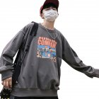 Couple Crew Neck Sweatshirt Hip-hop Junior Company Student Fashion Loose Pullover Tops Gray_XL