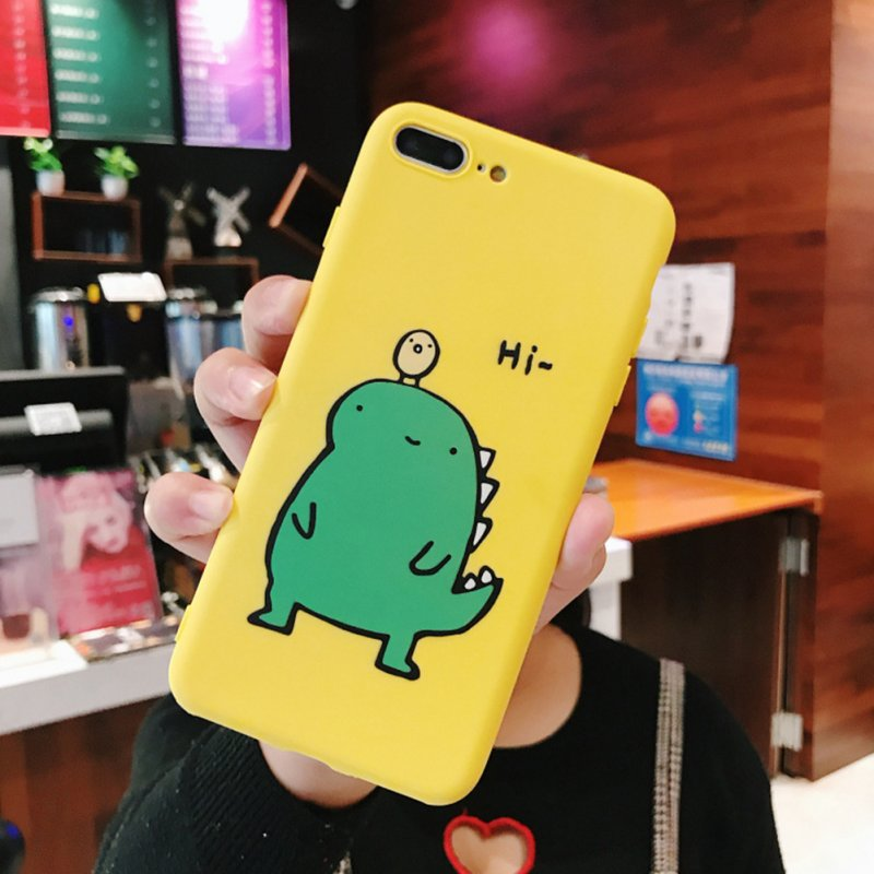 Couple Cute Cartoon Yellow Green Small Dinosaur Mobile Phone Protection Shell Phone Case Phone Cover For OPPO yellow_OPPO Reno-Z
