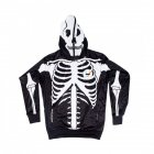 Couple Halloween Skeleton Hoodie Sweatshirt with Mask Printing Unisex Baseball Pullover black_S