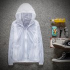 Couple Quick-drying Breathable Anti-UV Wear-resistant Sunscreen Hooded Coat Outdoor Sportswear white_S