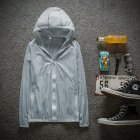 Couple Quick-drying Breathable Anti-UV Wear-resistant Sunscreen Hooded Coat Outdoor Sportswear gray_S
