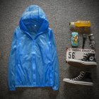 Couple Quick drying Breathable Anti UV Wear resistant Sunscreen Hooded Coat Outdoor Sportswear Fluorescent blue XXL