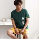 Couple Summer Round Neckline Cotton Short sleeved Thin Shirt   Shorts Two piece Outfit 719 men XXXL