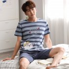 Couple Summer Short Sleeve Cute Cotton Thin Pajamas Two piece Suit Home Wear