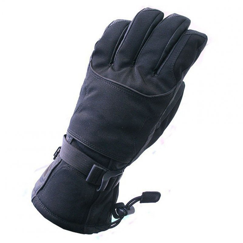 Couple Thickening Warm Windproof Waterproof Wear-Resistant Ski Riding Hiking Gloves black_L