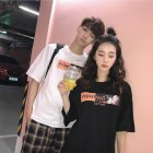 Couple Women Men Summer Cartoon Anime Loose Short-sleeved Shirt T-shirt Tops black_L
