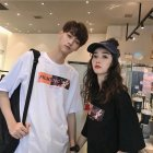 Couple Women Men Summer Cartoon Anime Loose Short-sleeved Shirt T-shirt Tops white_L
