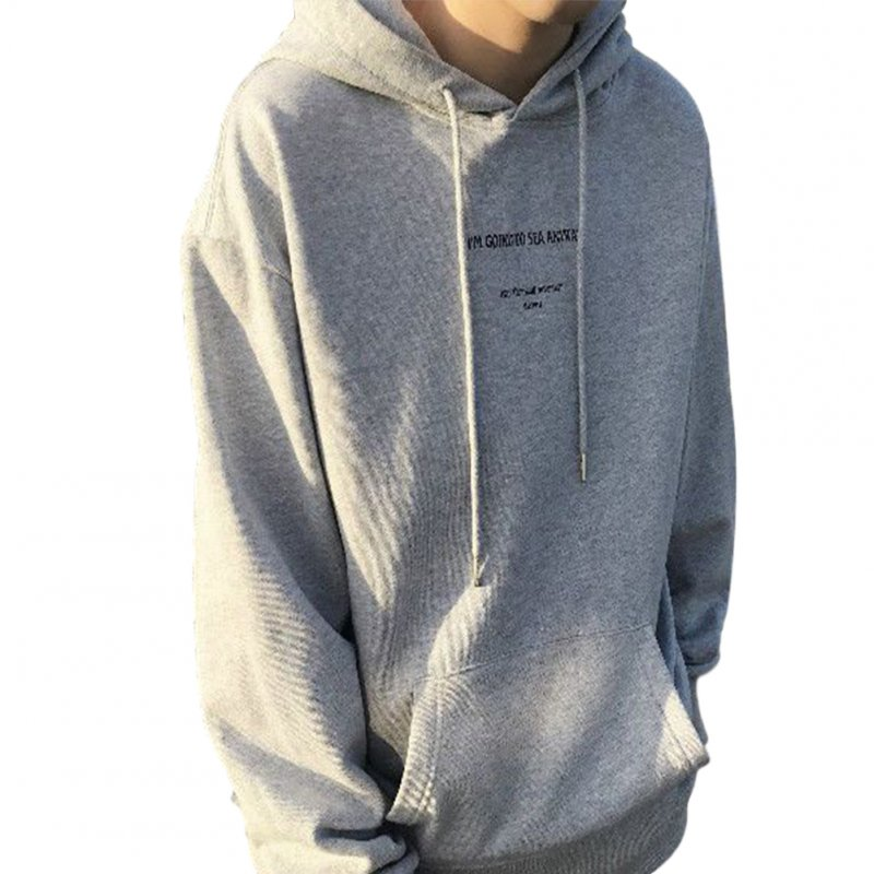 Couples Long-sleeved Hoodies Letter Print Loose brushed Fleece Hooded Long Sleeve Top Gray _L
