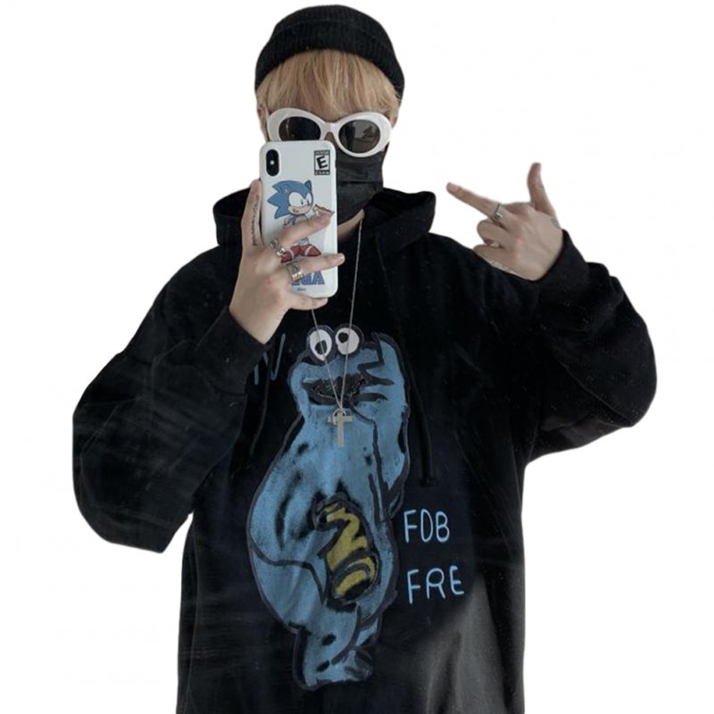Couples Long-sleeved Hoodies Fashion Cartoon printing pattern Loose Fleece Hooded Long Sleeve Top Black _XL