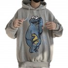 Couples Long-sleeved Hoodies Fashion Cartoon printing pattern Loose Fleece Hooded Long Sleeve Top Gray _L