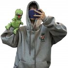 Couples Long sleeved Hoodies Fashion Fleece retro Little Dinosaur cartoon printing pattern Loose Hooded Long Sleeve Top Gray L
