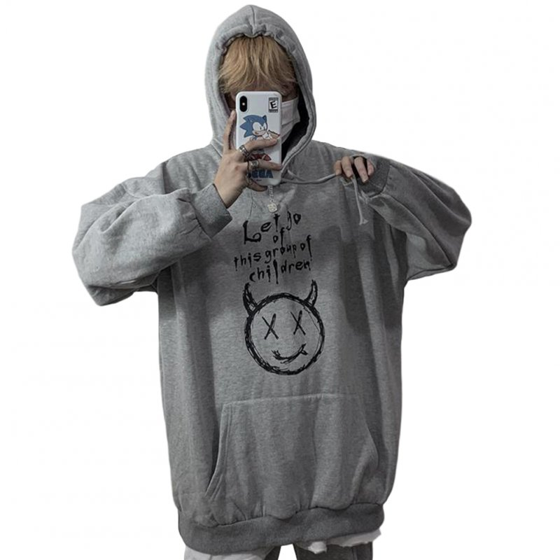Couples Long-sleeved Hoodies Fashion Retro hand-painted graphic alphabet printing pattern Loose Fleece Hooded Long Sleeve Top Gray_M