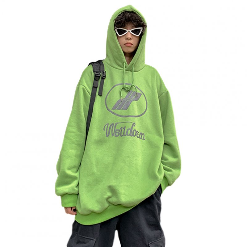Couples Long-sleeved Hoodies Fashion Fleece retro printing pattern Loose Hooded Long Sleeve Top Green _L