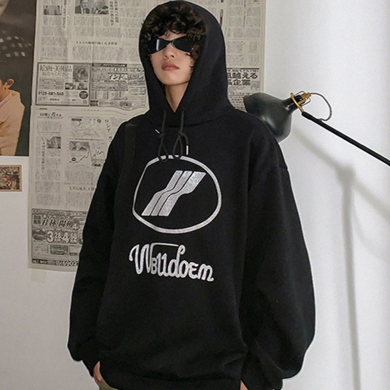 Couples Long-sleeved Hoodies Fashion Fleece retro printing pattern Loose Hooded Long Sleeve Top Black _XL