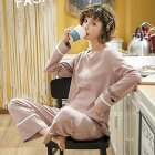 Couples Men And Women Autumn And Winter Long-sleeved Cotton Loose Pajamas Home Wear X3995 female models_XL