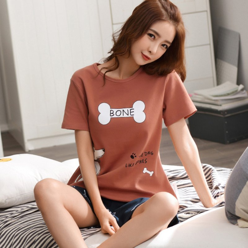 Couples Men And Women Summer Thin Cotton Two-piece Suit Casual Short-sleeved Tops+Shorts Homewear Pajamas 711-3 women_XL