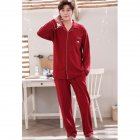 Couples Pajama Set Long Sleeve and V-neck Top and Pants Sleepwear Home Wear for Man and Woman 326 men_L