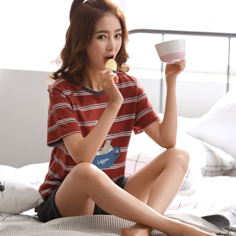 Couples Sleepwear Set Winter Short Sleeves Top+Shorts Nightclothes for Man and Woman 711-4 female models_XL