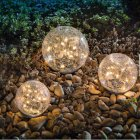 Cracked Glass Ball Solar Light LED Garden Outdoor Waterproof Ground Path Yard Lawn Lamp 10CM ball-20LED warm yellow light