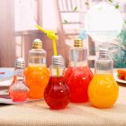Creative Clear Plastic Light Bulb Juice Water Beverage Bottle Drink Cup without Drinking Straw 500 ml