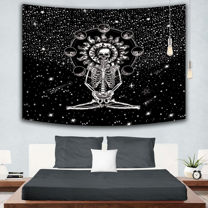 Creative Couple Skull Painting Tapestry Skeleton Yoga Mat Blanket Mandala Wall Hanging 3#_Brushed polyester 150cm*130cm