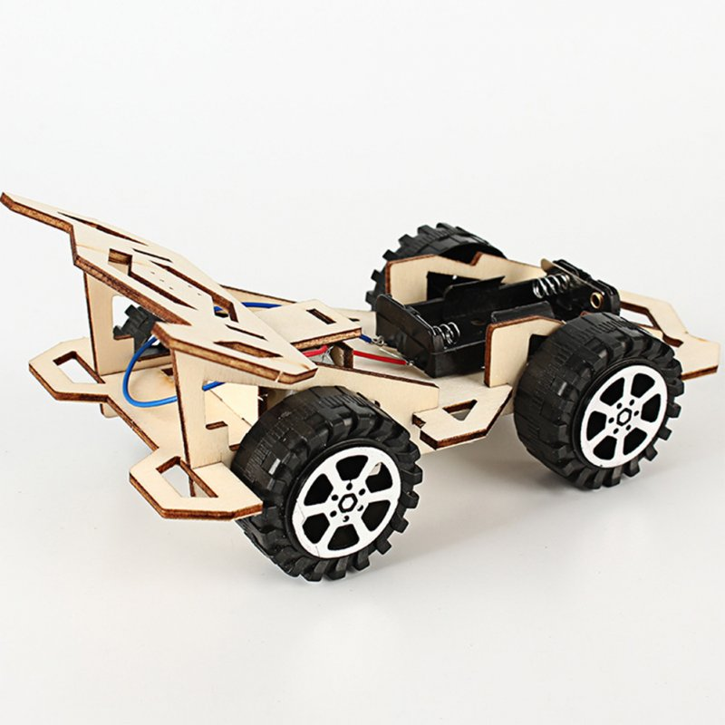 Creative Electric Wooden Racing Technology Car Assembly Science Experiment Manual DIY Toy Phantom Racing car