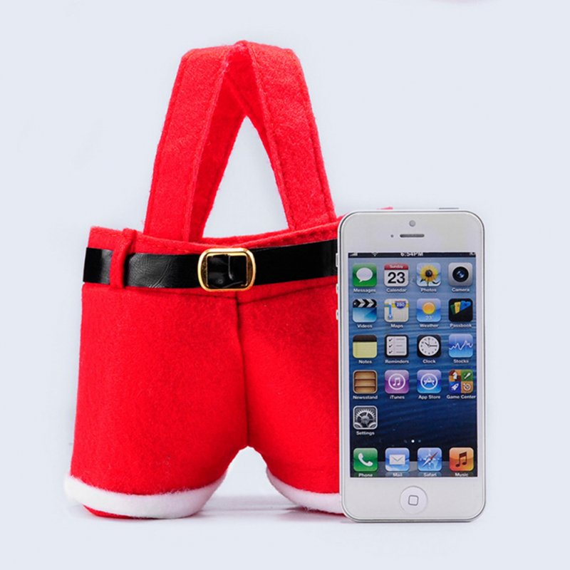 Creative Santa Pants Shape Candy Bag Portable Red Christmas Gift Bags Home Wedding Party Decor