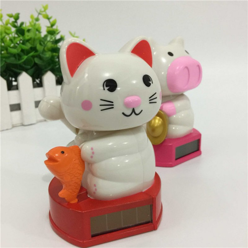 Creative Solar Powered Shaking Head Lucky Cat Lucky Pig Toy Home Car Decoration