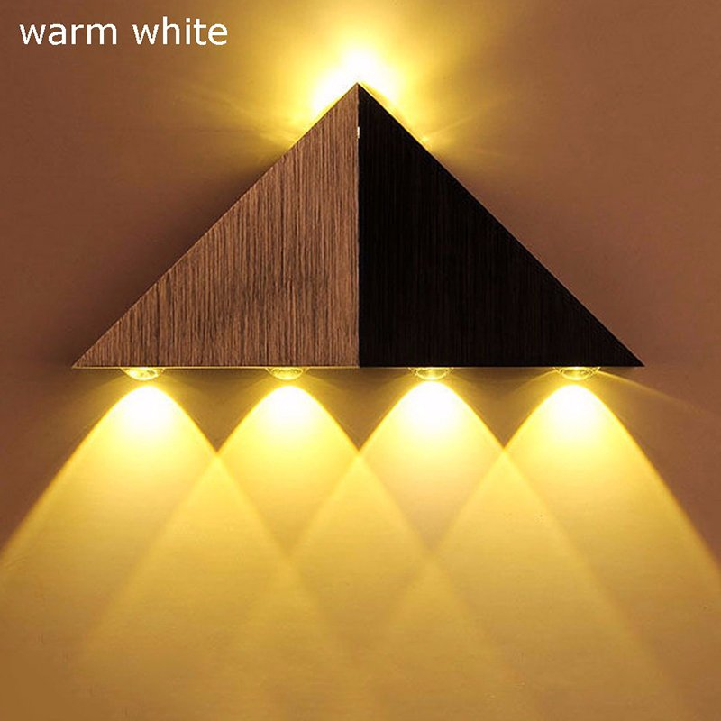 Creative Stylish LED Triangle Wall Light Dinning Hall Bedroom KTV Room Restaurant Barber Shop Decoration Warm White