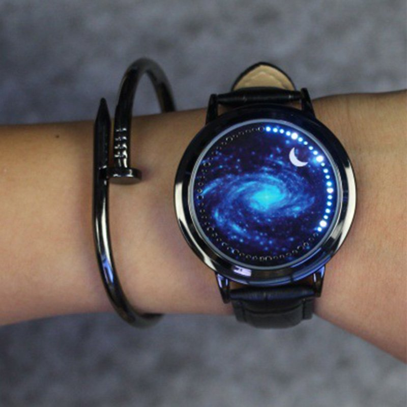 Creative Touch Screen Watch Men Women LED Waterproof Watches Casual Leather Sports Wrist Watches Christmas Gift Black hole sky