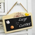 Creative Wood Hanging Chain Magnetic Black White Double Side Rectangle Mini Chalkboard