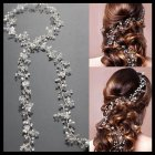 Crystal Pearl Headdress for Wedding Dress Parts Hair Strap Silver