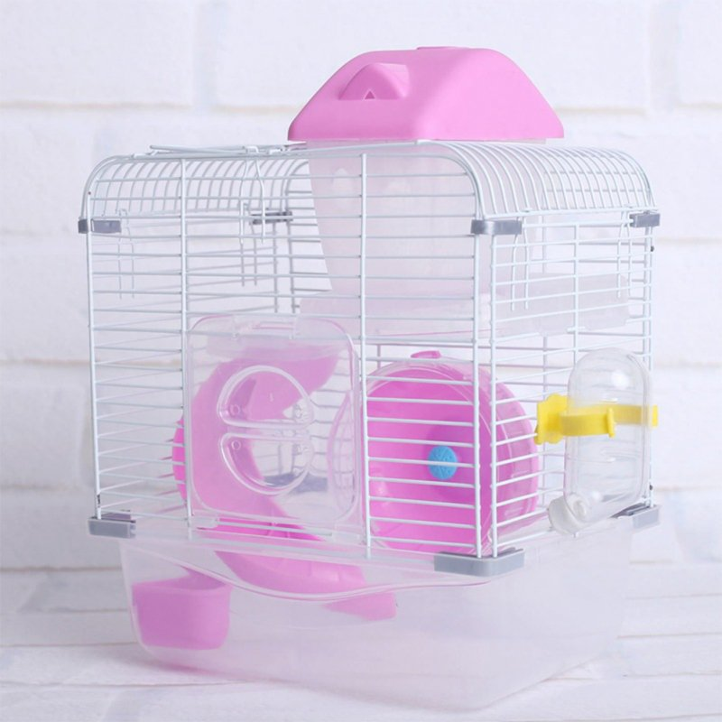 Crystal Pet Cage Hamster Cottage Double Layer House for Hamster Golden Hamster Pet Pink_L