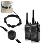 Crystal clear radio communication in the noisiest environments with this professional grade walkie talkie set with throat mic