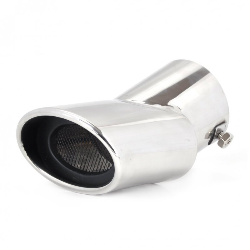 Curved Silver Tone Stainless Steel Car Exhaust Muffler Pipe Silencer for Hyundai ix35 Tucson 2010-2014