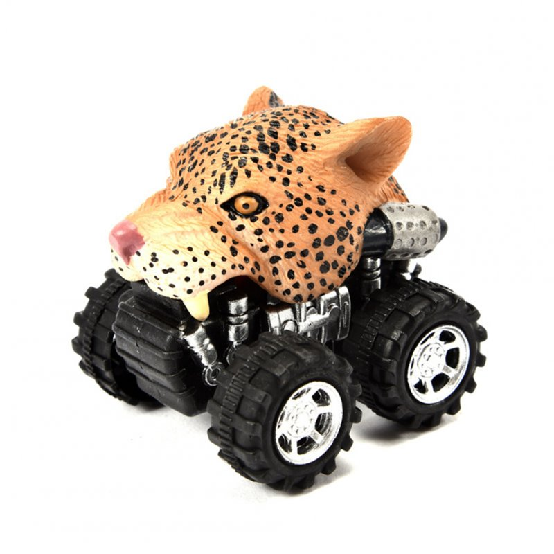 Cute Animal Shape Model Mini Pull Back Car Vehicle Toy Early Educational Toy Perfect Gift African leopard