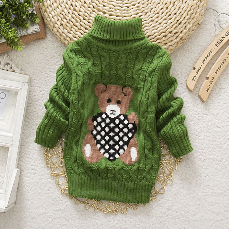Cute Baby Toddler Girls Boys Warm Turtleneck Knit Sweater Pullover Outwear Clothes green_140cm