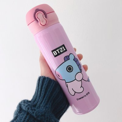 Cute Bts Series Cartoon Printing Stainless Steel Vacuum Thermal Cup for Fans Student hippo